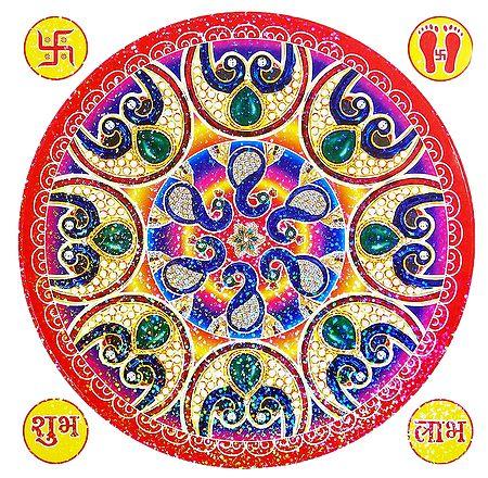 Multicolor Square Paper Sticker Rangoli
