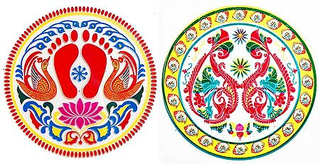 Set of 2 Rangoli Print on Transparent Sheet Sticker
