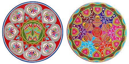 Set of 2 Charan and Kalash Paper Sticker