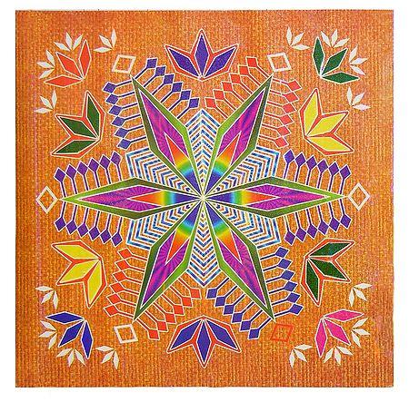 Geometrical Design on Glazed Paper Sticker