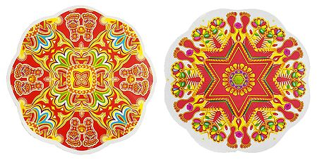 Set of 2 Colorful Rangoli Stickers
