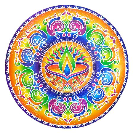 Diya Design on Sticker Rangoli