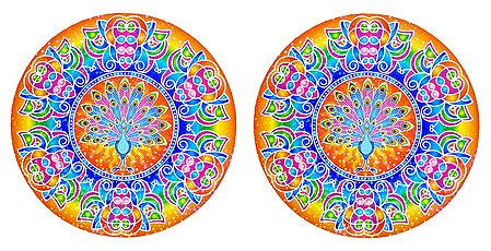 Pair of Rangoli Stickers with Peacock Design