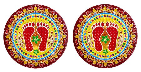 Pair of Rangoli Stickers with Charan Design