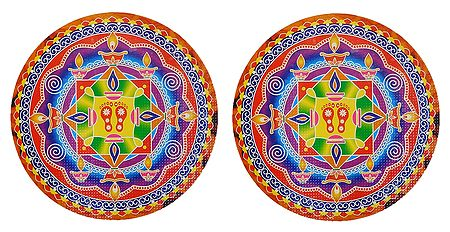 Pair of Rangoli Stickers with Diya and Charan Design