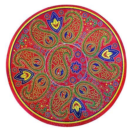 Multicolor Round Metallic Paper Sticker Rangoli