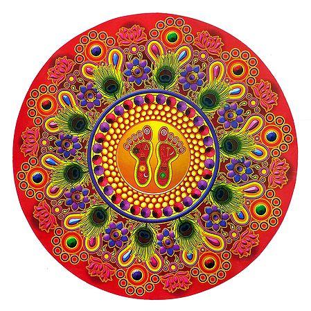 Multicolor Round Paper Sticker Rangoli