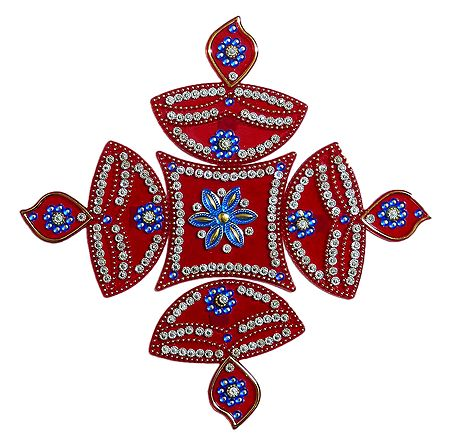 Red Acrylic Sticker Rangoli