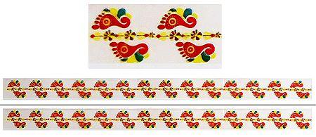 Set of 2 Sticker Charan Prints on Transparent Sheet