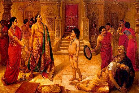 Mohini Asking Rukmangada to Kill His Own Son - Ravi Varma Reprint
