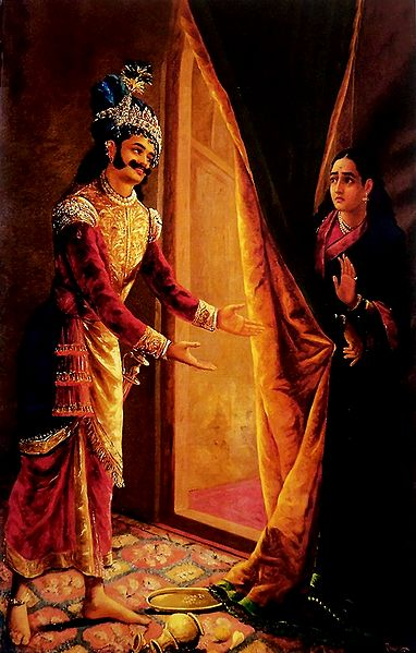 Keechaka Trying to Woo Sairindhri (Draupadi in Disguise)