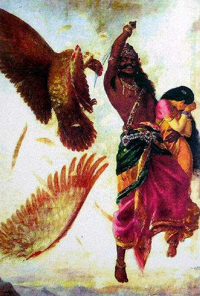 Jatayu Vadham - Sita Horrified Seeing Ravana Cutting Jatayu's Wing