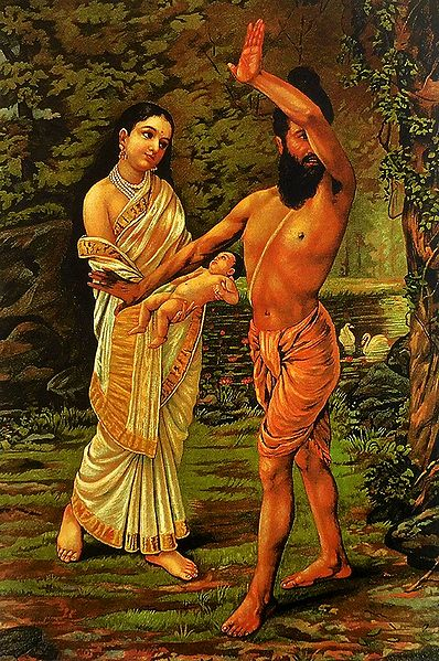 Birth of Shakunthala - Ravi Varma Reprint - Unframed