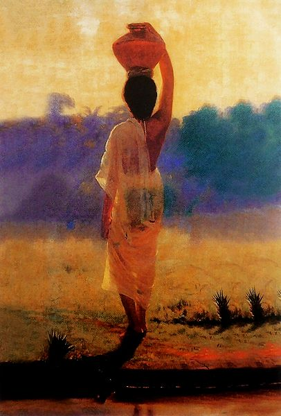 Village Woman Carrying Water Pot - Ravi Varma Reprint