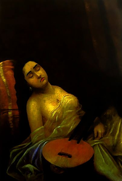 Urvashi - Apsara in the Court of Indra - Raja Ravi Varma Reprint