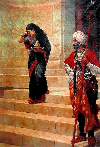 Sairandhri - Draupadi in Disguise Carrying Milk and Honey to the Court of Keechaka