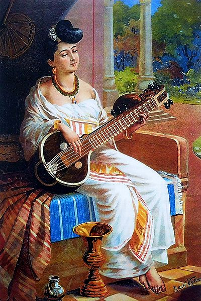 Lady Playing Sitar