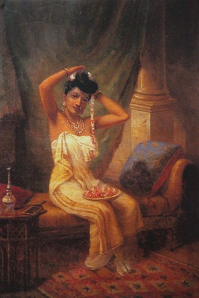 A Nair Lady Adorning Her Hair with a Garland of Jasmine