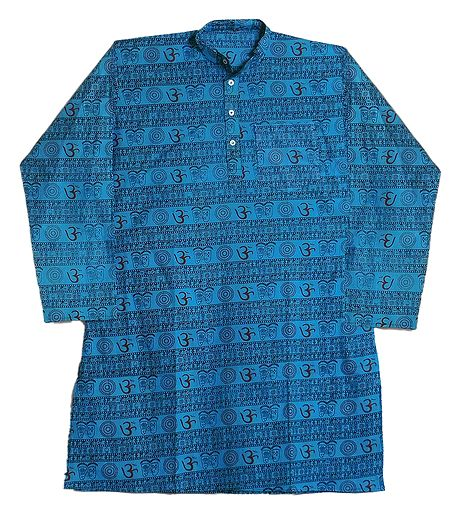 Blue Full Sleeve Long Kurta with Om Print