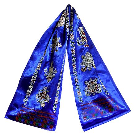 8 Buddhist Symbol Print on Blue Satin Khada - Buddhist Angavastram