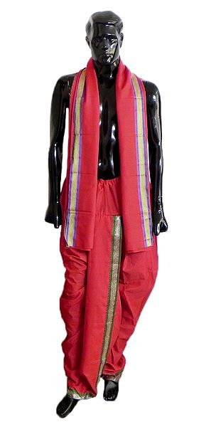 Pyjama Type Red Dhoti and Angavastram with Green and Purple Border for Performing Kali Puja