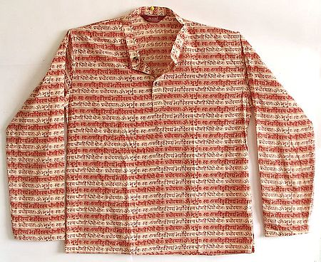 Full Sleeve Short Peach and Beige Stripe Kurta with Red Gayatri Mantra Print