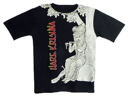 Printed Krishna on Black T-Shirt