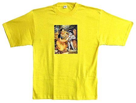 Printed krishna with Yashoda on Mens Yellow T-Shirt