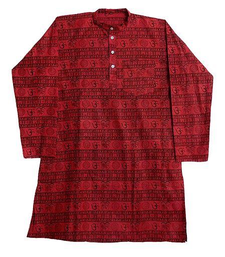 Red Full Sleeve Long Kurta with Om Print