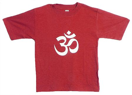 Hand Painted Om on Red T-Shirt