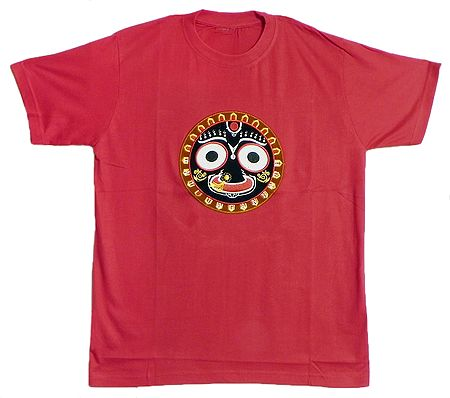 Embroidered Jagannathdev Face on Red T-Shirt