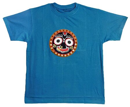 Embroidered Jagannathdev Face on Blue T-Shirt