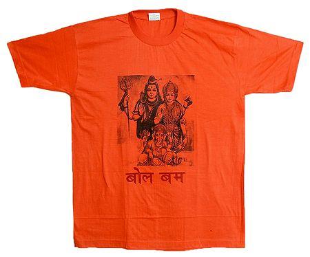 Shiva Family Print on Mens Saffron T-Shirt