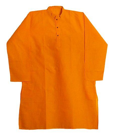 Full Sleeve Saffron Cotton Kurta for Men