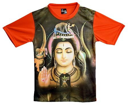 Printed Shiva on Mens Synthetic T-Shirt