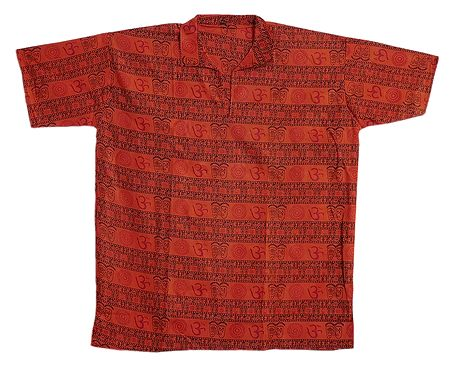 Dark Saffron Short Kurta with Om Print