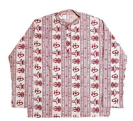 White Short Kurta with Om and Shivalinga Print