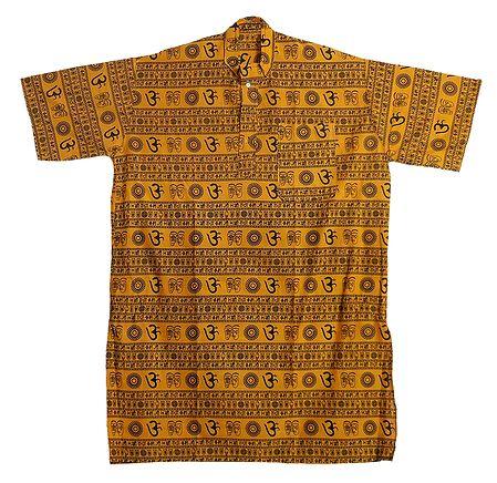 Yellow Short Kurta with Om Print for Men