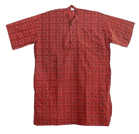 Brick Red Short Kurta with Om Print