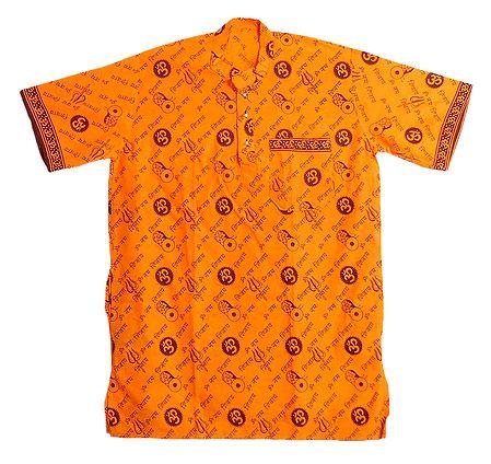 Saffron Short Kurta with Om Namah Shivay Print
