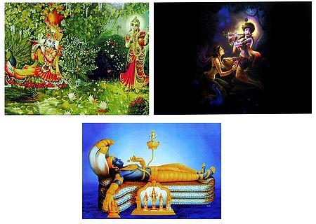 Radha Krishna and Anantashayan Vishnu - Set of 3 Posters