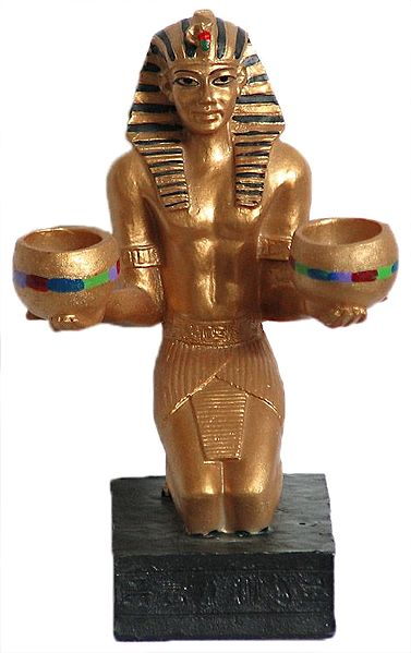 Egyptian Statue with Candle Stand