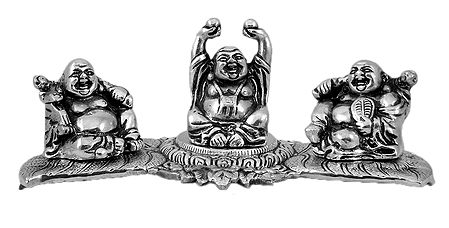 3 Laughing Buddha Sitting on Stand