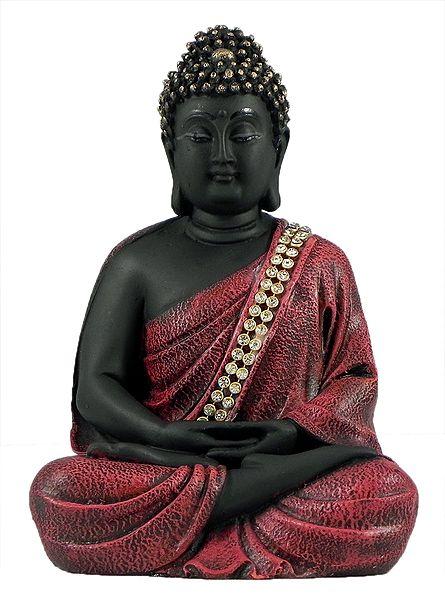Meditating Buddha in Red Robe