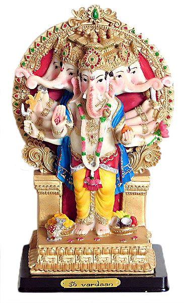 Panchamukhi Ganesha Resin Statue 11 X 6 X 4 25 Inches