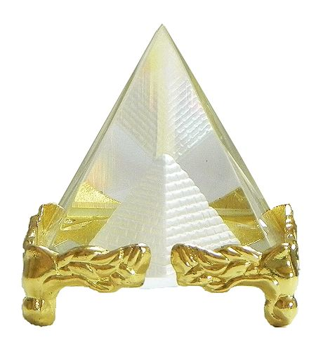 3-D Etched Glass Pyramid - Paper Weight