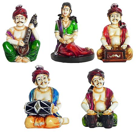 Set of 5 Rajasthani Musicians with a Woman Singer