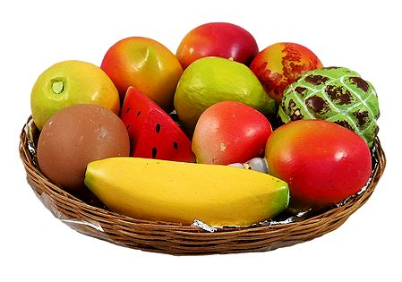 Wooden Fruits in a Basket