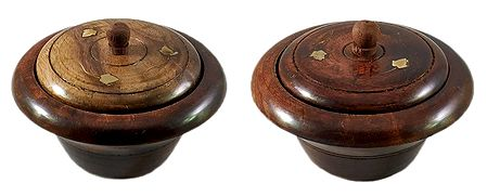 Set of 2 Wooden Ritual Bowl with Lid