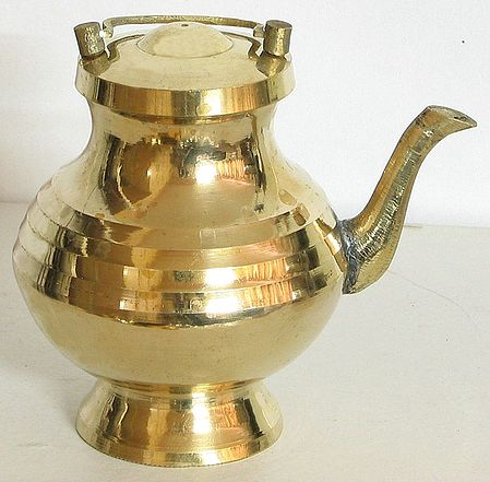 Brass Kamandalu with Lid for Holy Water